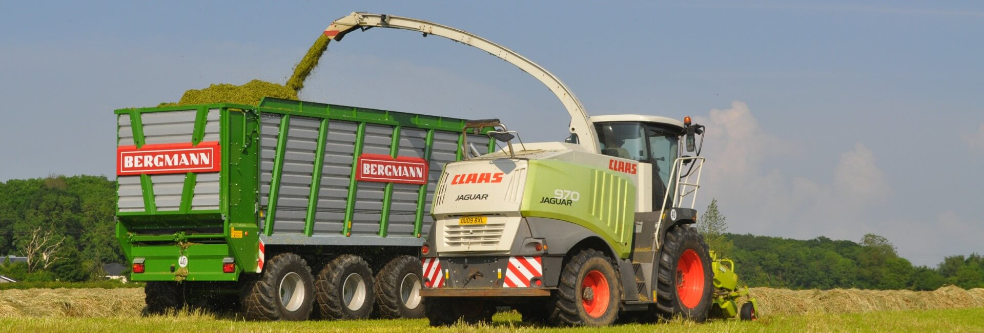 Bergmann silage trailer with class jaguar silage harvester