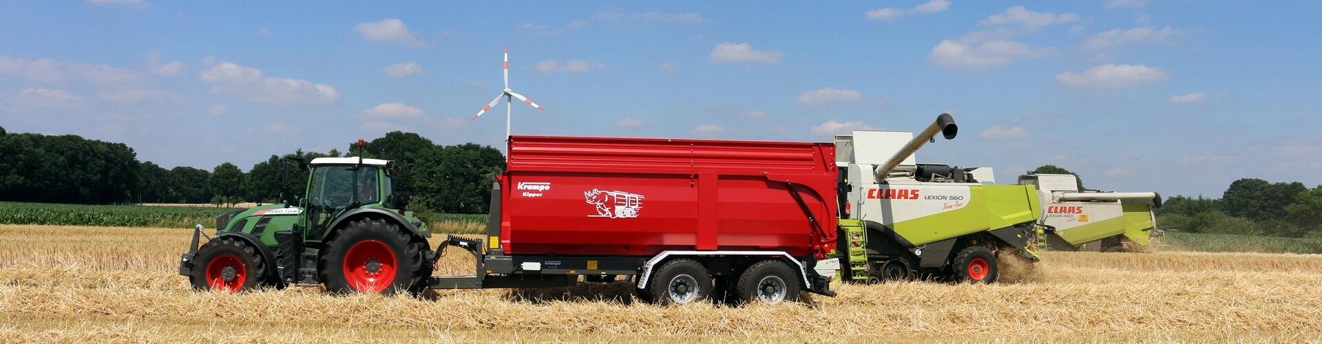 Kramp hook lift trailer wheat harvest