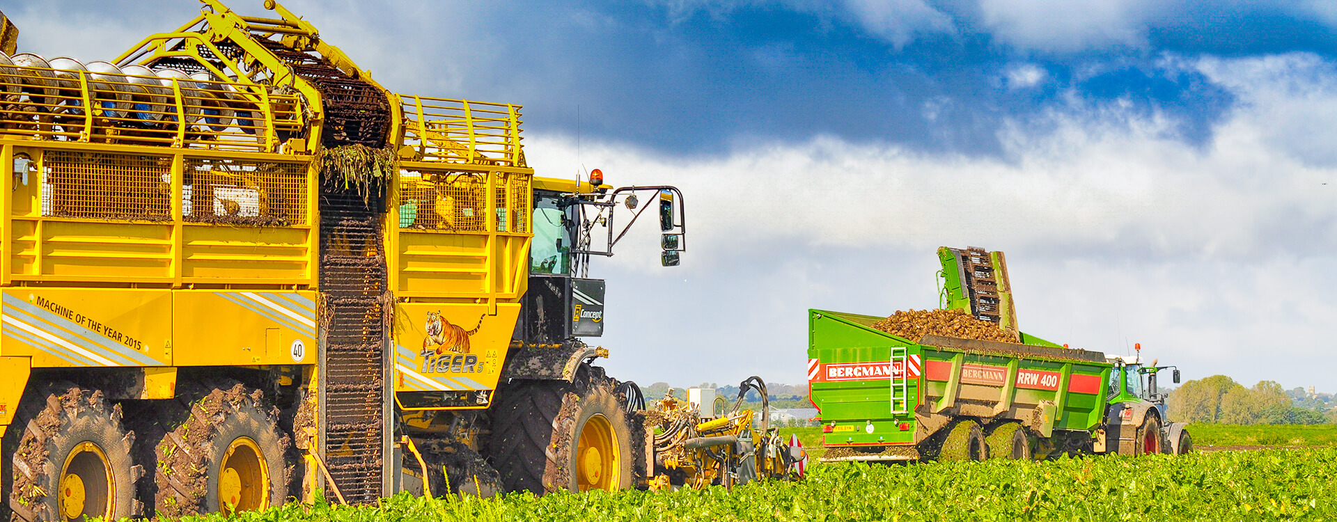 Ropa harvester and bergmann sugar beet chaser landscape harvest UK