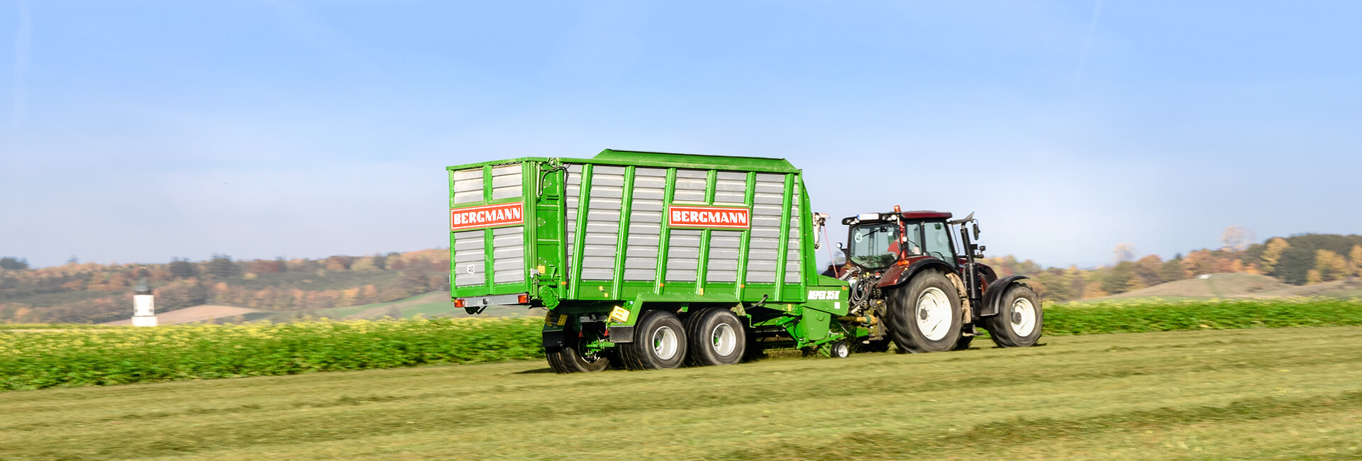Valtra and Bergmann Silage loader Wagon