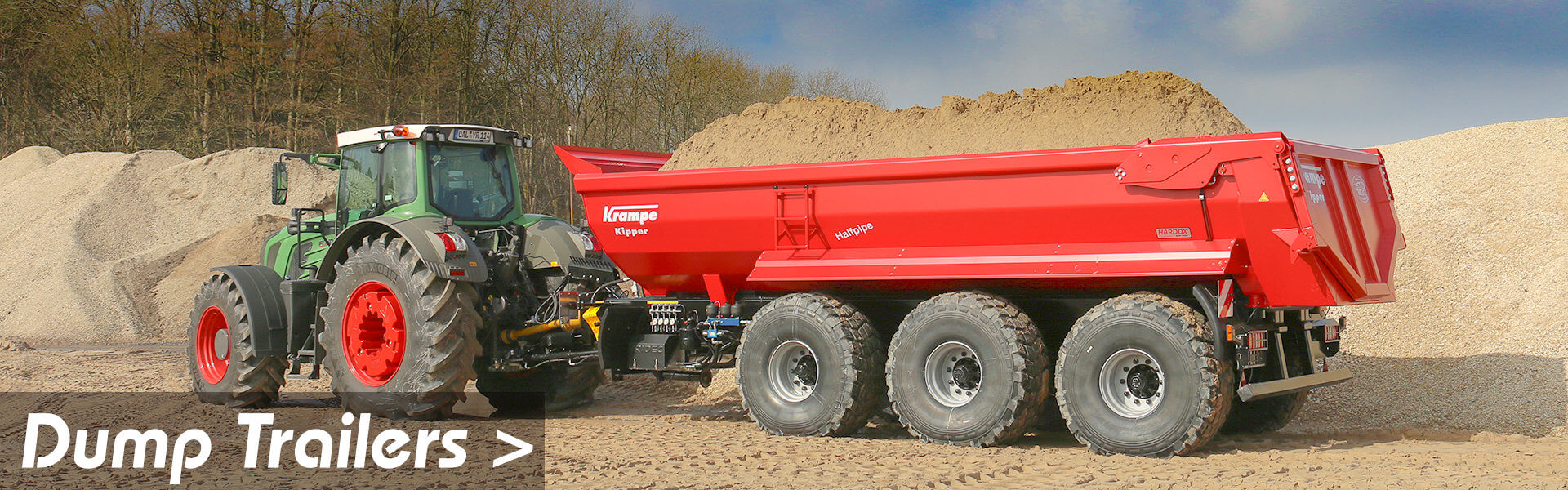 link to dump trailers page image of krampe half pipe triaxle