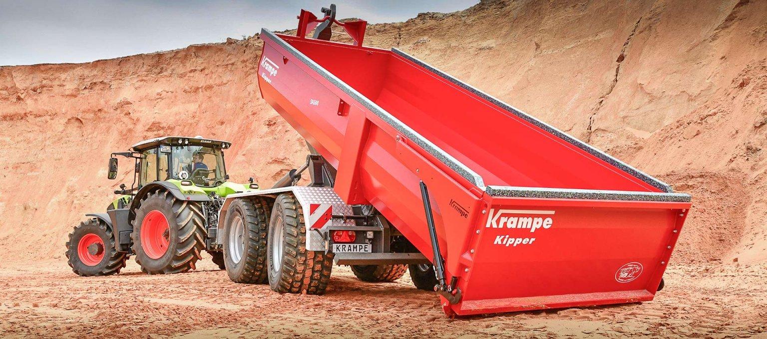 Krampe Hooklift in sand quarry