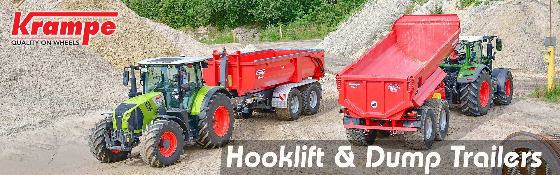krampe hook lifts and dump trailers in quarry