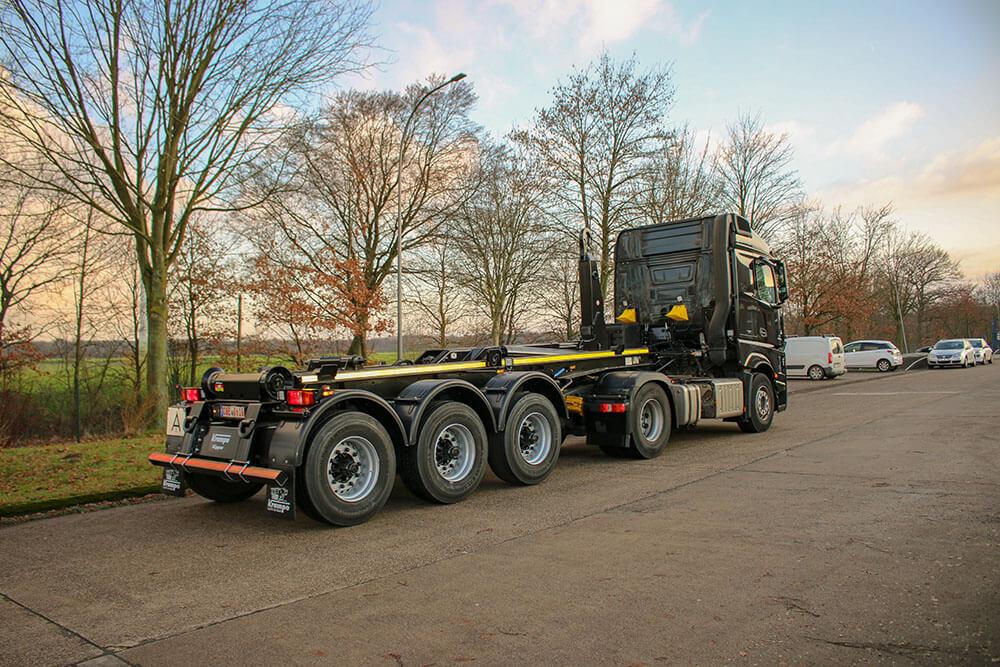 black semi trailer hooklift