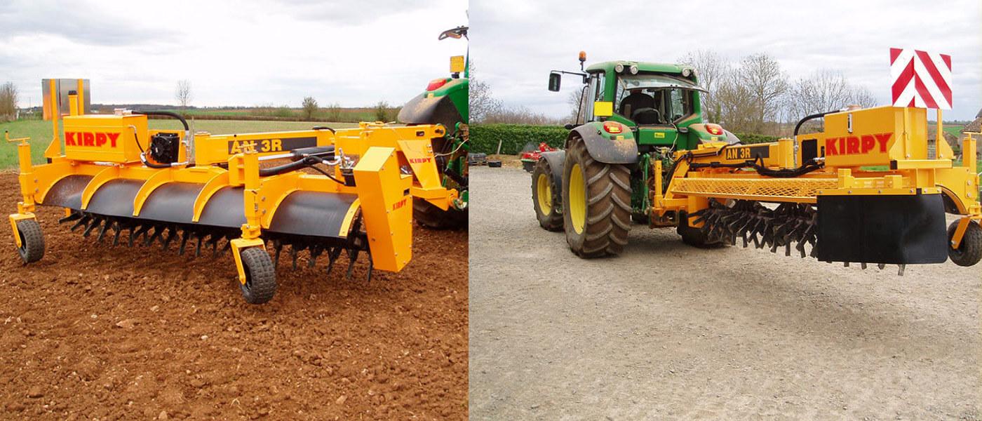 Kirpy stone rake with John Deere tractor